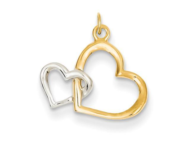 14k & Rhodium Double Heart Charm