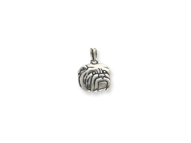 Sterling Silver Antiqued Bulldog Charm