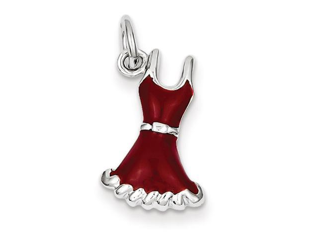 Sterling Silver Enameled Red Dress Charm