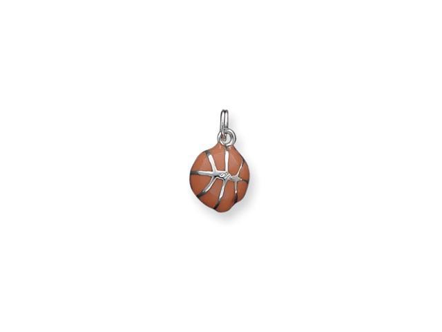 Sterling Silver Orange Enameled Basketball Charm