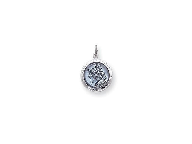 Sterling Silver Blue Epoxy St. Christopher Medal