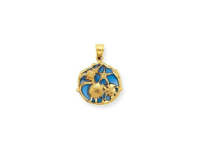 14K Blue Stained Glassed Shell Cluster Pendant