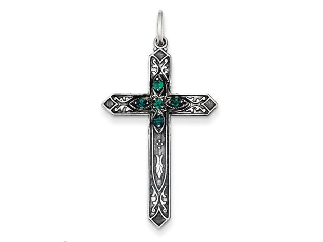 Sterling Silver May Birthstone Cross Pendant