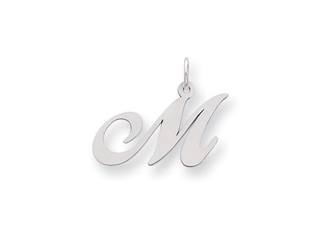 Sterling Silver Medium Fancy Script Initial M Charm