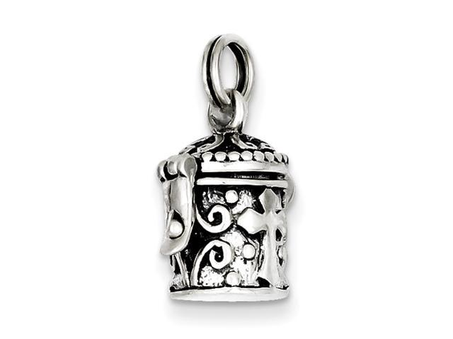 Sterling Silver Antiqued Cross Prayer Box Charm