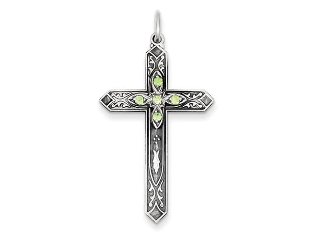 Sterling Silver August Birthstone Cross Pendant