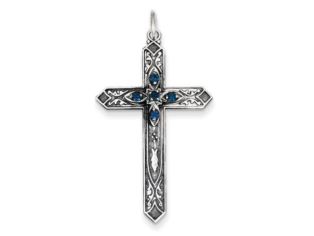 Sterling Silver December Birthstone Cross Pendant