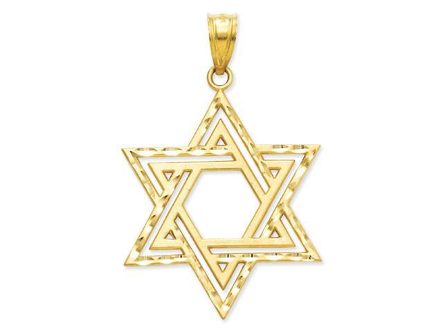 14k Solid Satin Star of David Charm