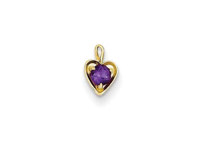 14ky February Birthstone Heart Charm
