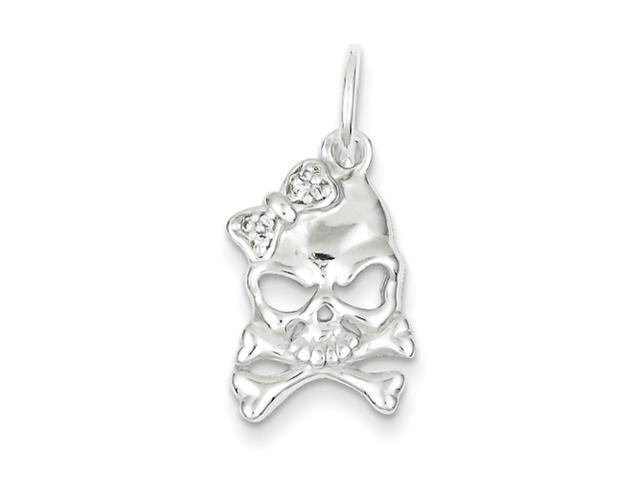 Sterling Silver CZ Skull Charm