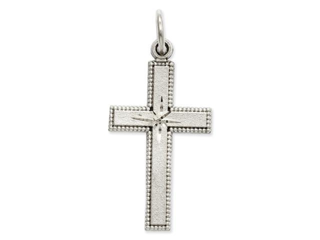 14k White Gold Diamond-cut Cross Pendant