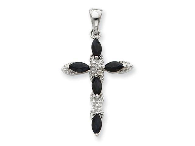Sterling Silver Sapphire & Diamond Cross Pendant