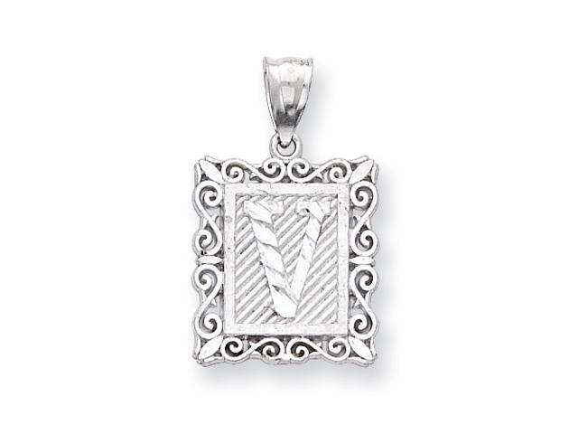 Sterling Silver Initial V Charm