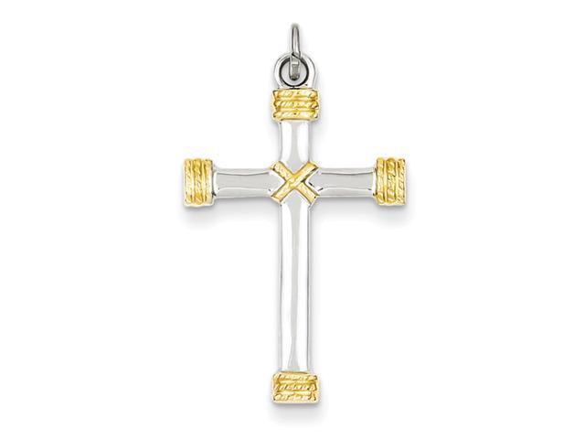 Sterling Silver & 18k Gold -plated Rope Cross Pendant