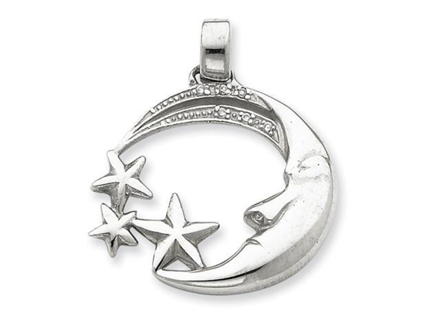 Sterling Silver Moon and Stars with CZ Pendant