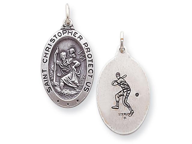 Sterling Silver St. Christopher Baseball Medal