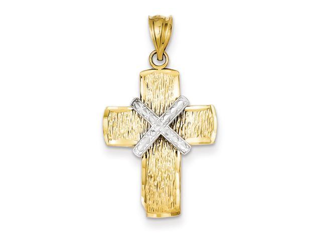 14K Two-tone Diamond-cut Cross Pendant