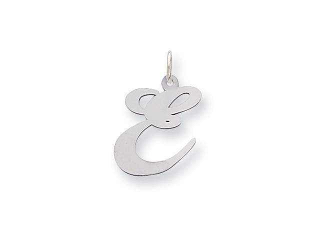 Sterling Silver Large Fancy Script Initial E Charm