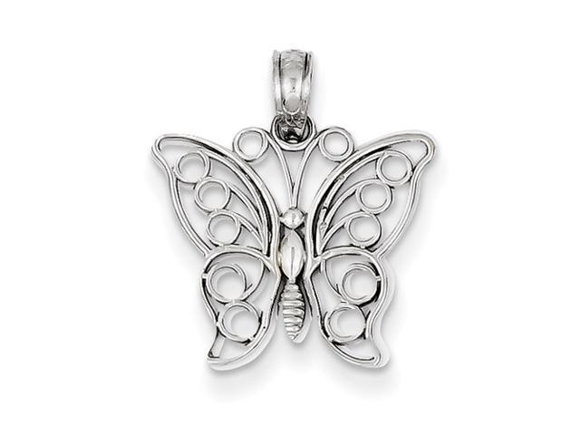 14k White Gold Cut-Out Butterfly Pendant