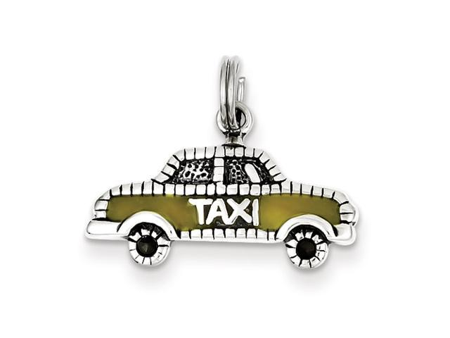 Sterling Silver Yellow Enameled Taxi Charm
