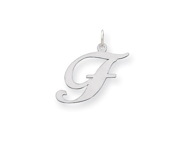 Sterling Silver Large Fancy Script Initial F Charm