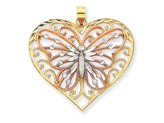14K Tri-color Diamond-cut Butterfly on Heart Pendant