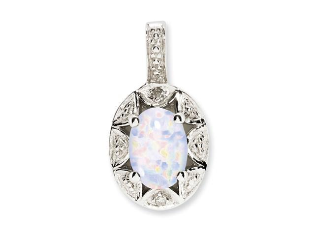 Sterling Silver Diamond & Created Opal Pendant