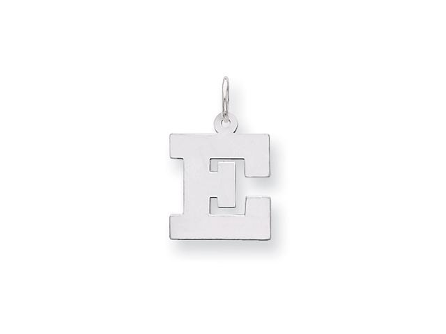 Sterling Silver Medium Block Intial E Charm