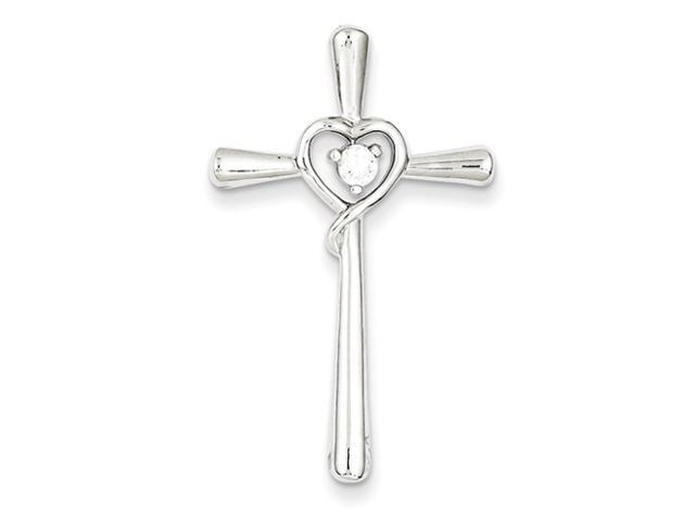 Sterling Silver CZ in Heart Cross Pendant