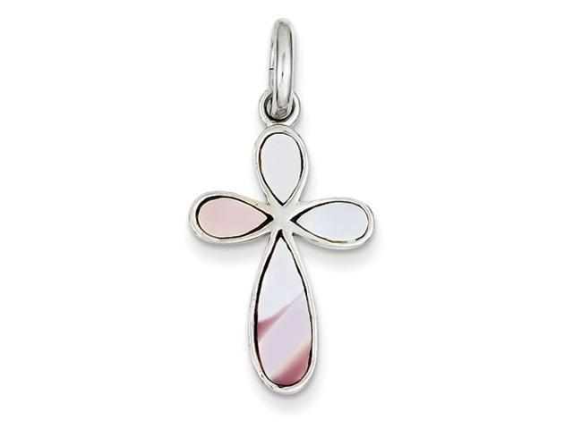 Sterling Silver Pink Mother of Pearl Cross Pendant