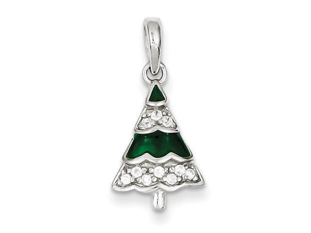 Sterling Silver CZ Christmas Tree Pendant