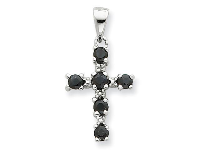 Sterling Silver Rhodium Dark Sapphire & Diamond Cross Pendant