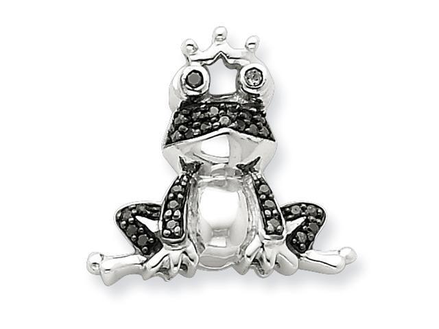 Sterling Silver Black Diamond Frog Prince Pendant