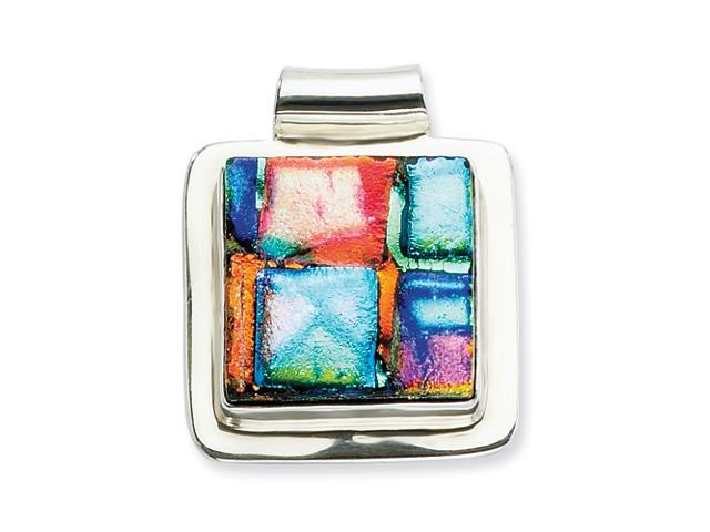 Sterling Silver Multicolor Dichroic Glass Sqare Pendant