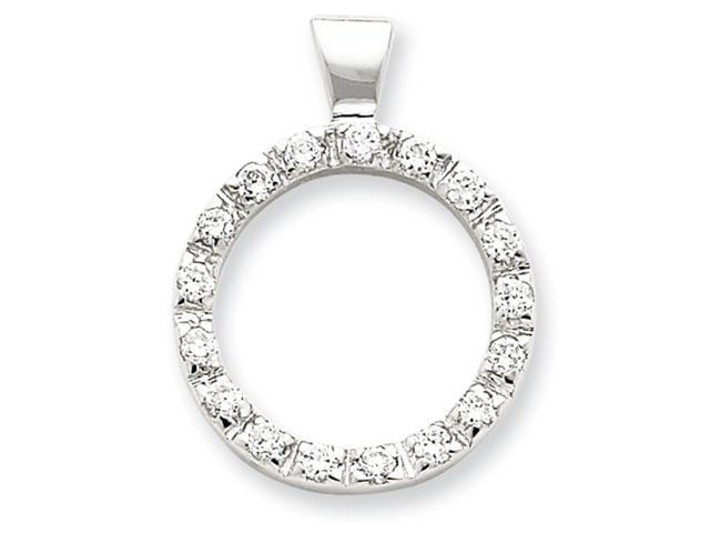 Sterling Silver CZ Circle Chain Slide Pendant
