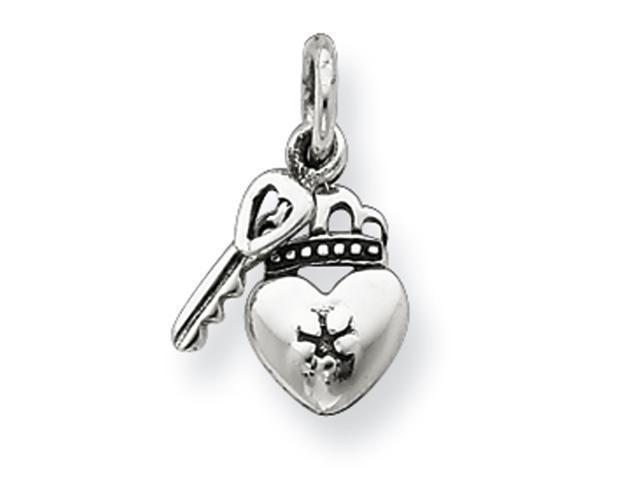 Sterling Silver Antiqued Crowned Heart Lock & Key Charm
