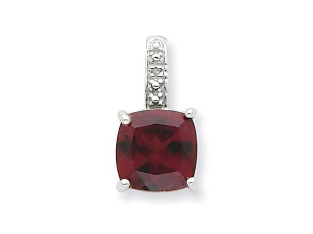 Sterling Silver Rhodium Garnet & Diamond Pendant