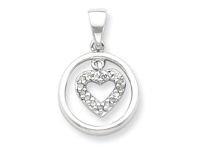 Sterling Silver Rhodium Heart in Circle Pendant