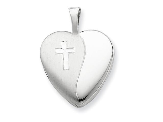Sterling Silver & Diamond 16mm D/C Cross Heart Locket