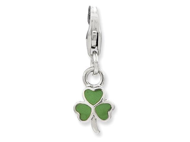 Sterling Silver Enameled Clover w/Lobster Clasp Charm