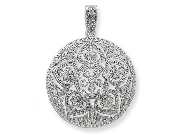 Sterling Silver Big Round Pave CZ Pendant