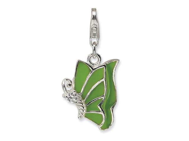 Sterling Silver Green Enameled & CZ Butterfly w/Lobster Clasp Charm