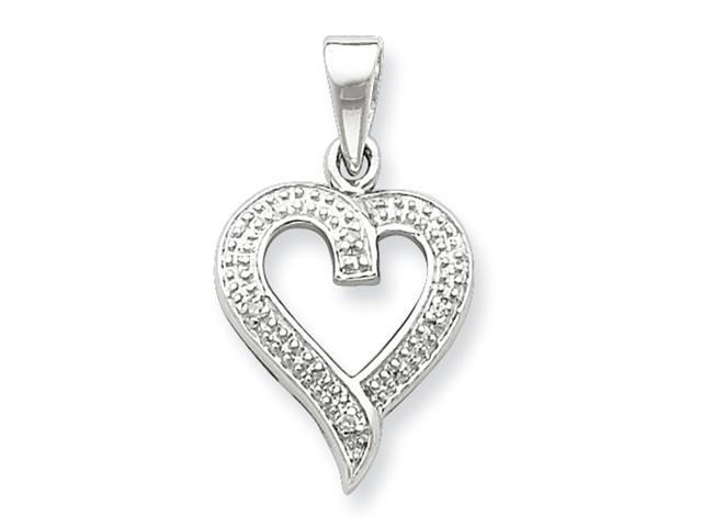 Sterling Silver Rhodium Diamond Heart Pendant