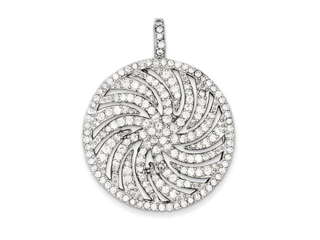 Sterling Silver CZ Large Circle Swirl Pendant