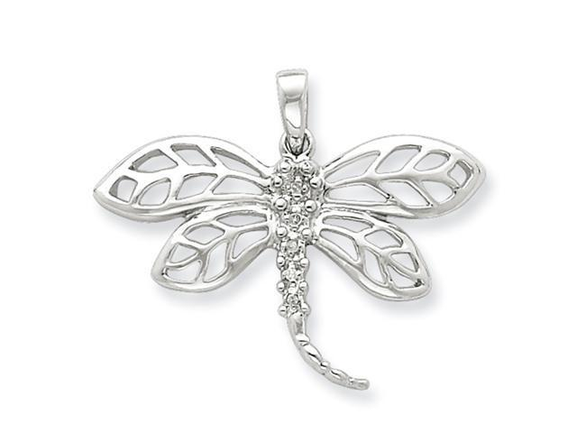 Sterling Silver Rhodium Diamond Dragonfly Pendant