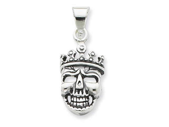 Sterling Silver Antiqued Crowned Skull Pendant