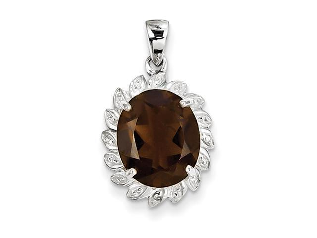 Sterling Silver Rhodium Smokey Quartz & Diamond Pendant