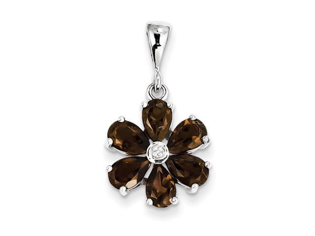 Sterling Silver Rhodium Smokey Qtz & Diamond Flower Pendant