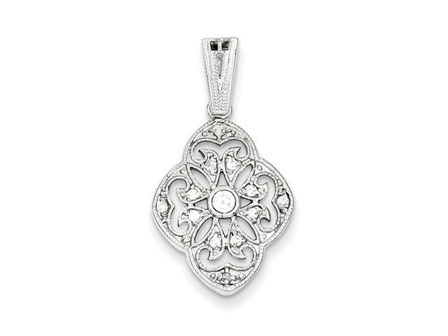 Sterling Silver CZ Vintage Style Pendant