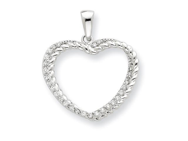 Sterling Silver CZ and Twisted Rope Double Heart Open Pendant